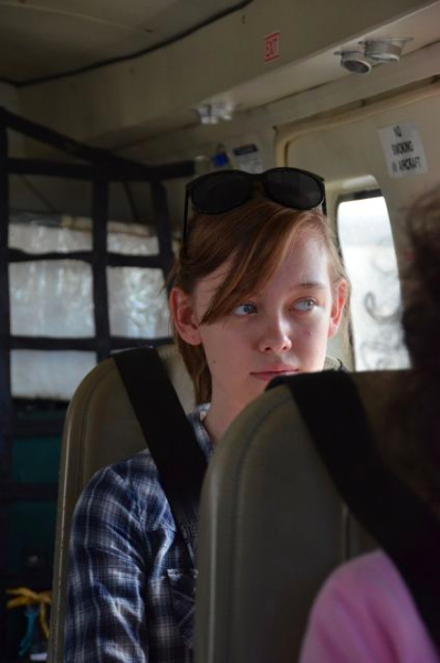 Sarah on the flight