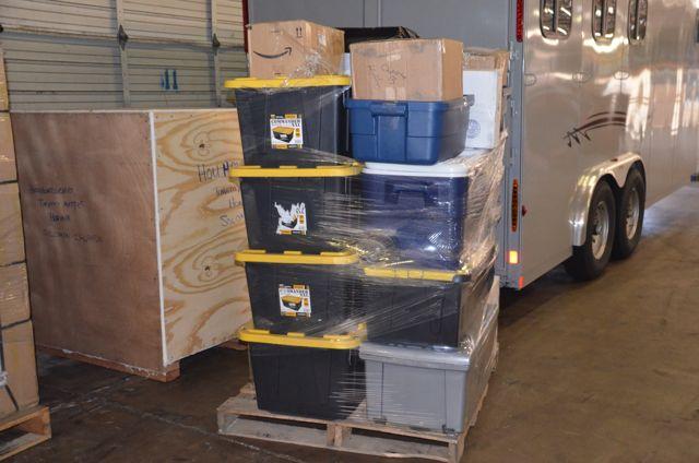 Plastic boxes full of cargo